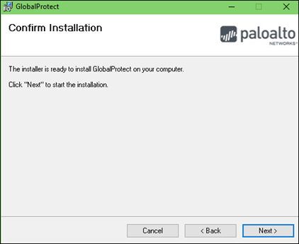 Click Next to Confirm Installation