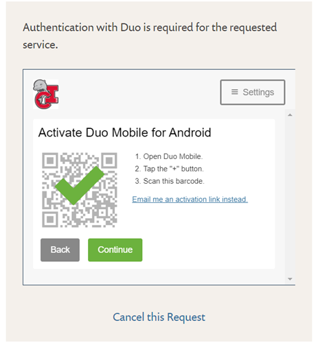 DUO QR code checked