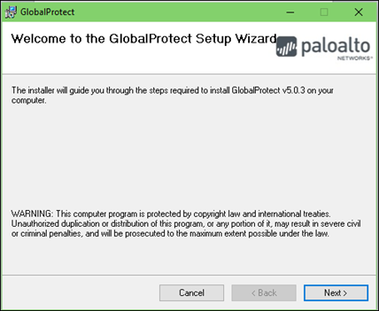 Press next in the GlobalProtect Setup Wizard