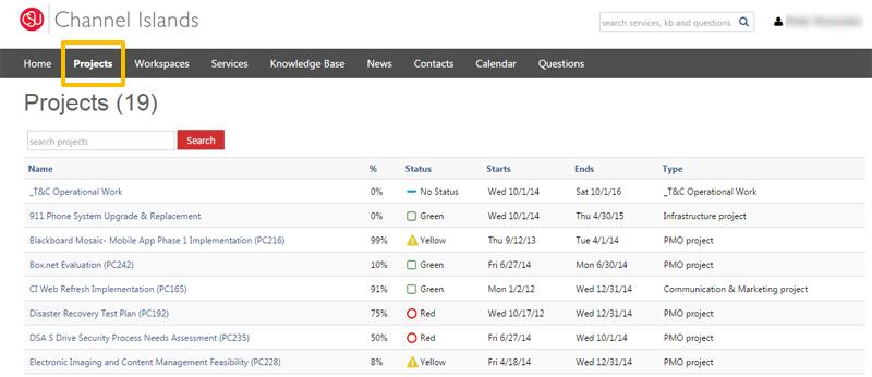 Screenshot of Projects menu tab