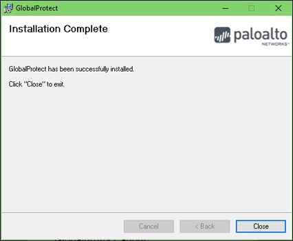 Installation Complete select Close