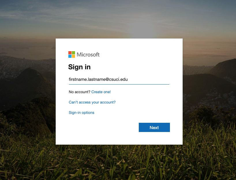 Screenshot of MS Teams signin page, prompting for CSUCI email address