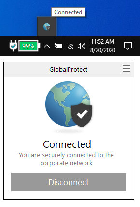 You are connected to the VPN when the globe turns blue.